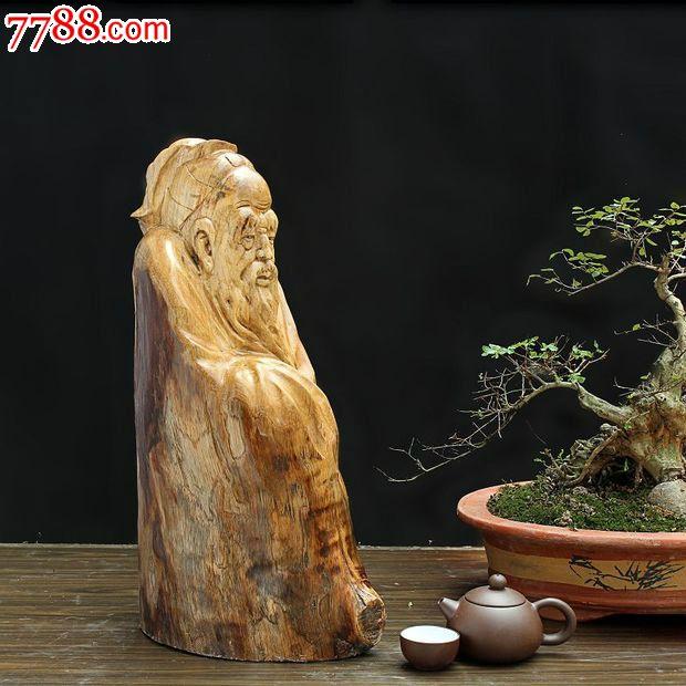 宜居品阁实木根雕木雕人物雕像缅甸黄金樟树瘤大儒ywd