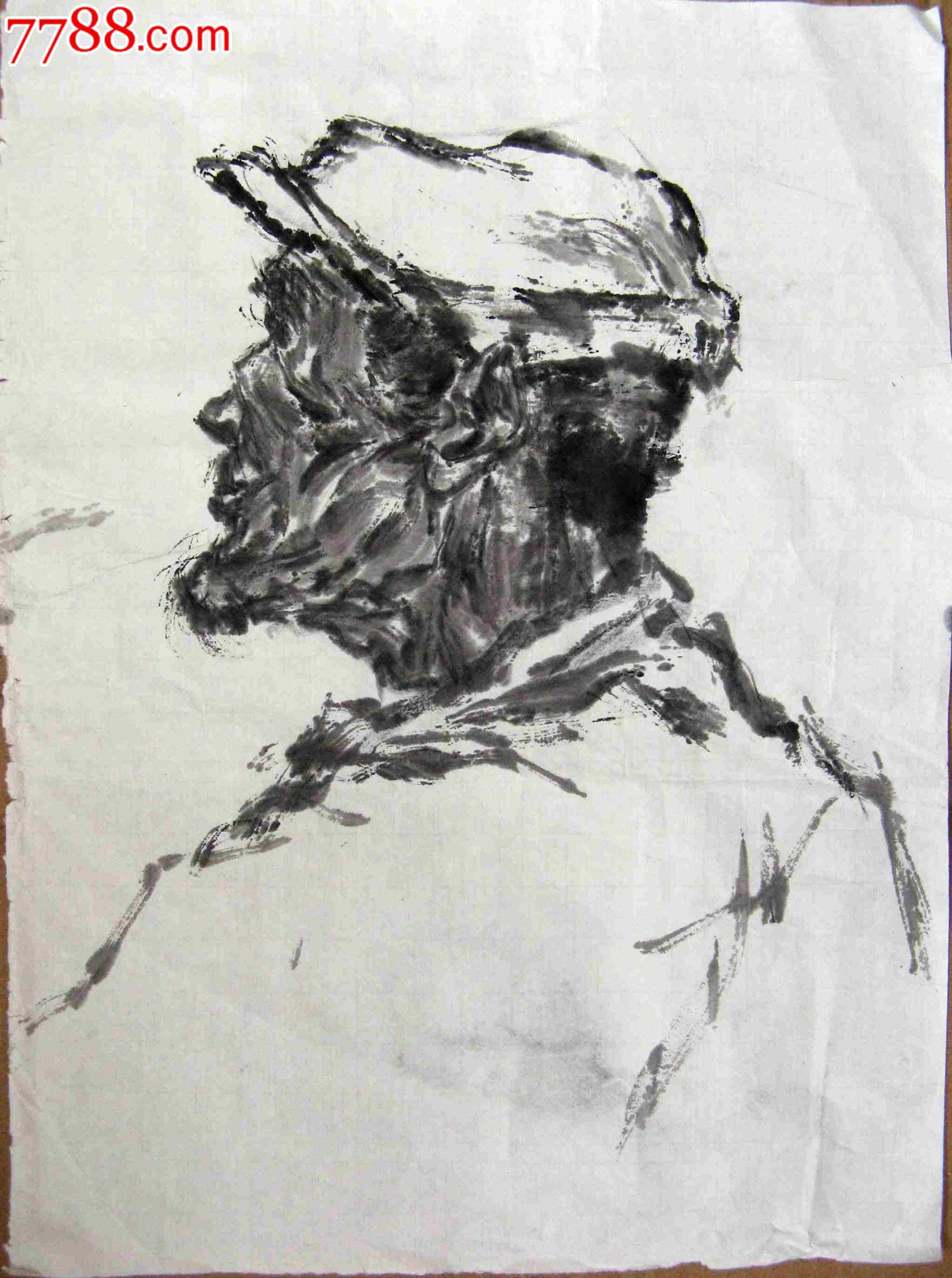 尺半条幅无款写意人物画:戴帽老人头像