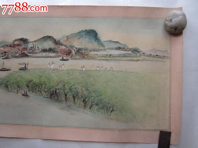 水彩山水画原画(80x33cm)横幅