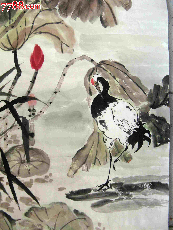 山东知名画家四尺条幅荷花仙鹤画《清心图》-花鸟国画