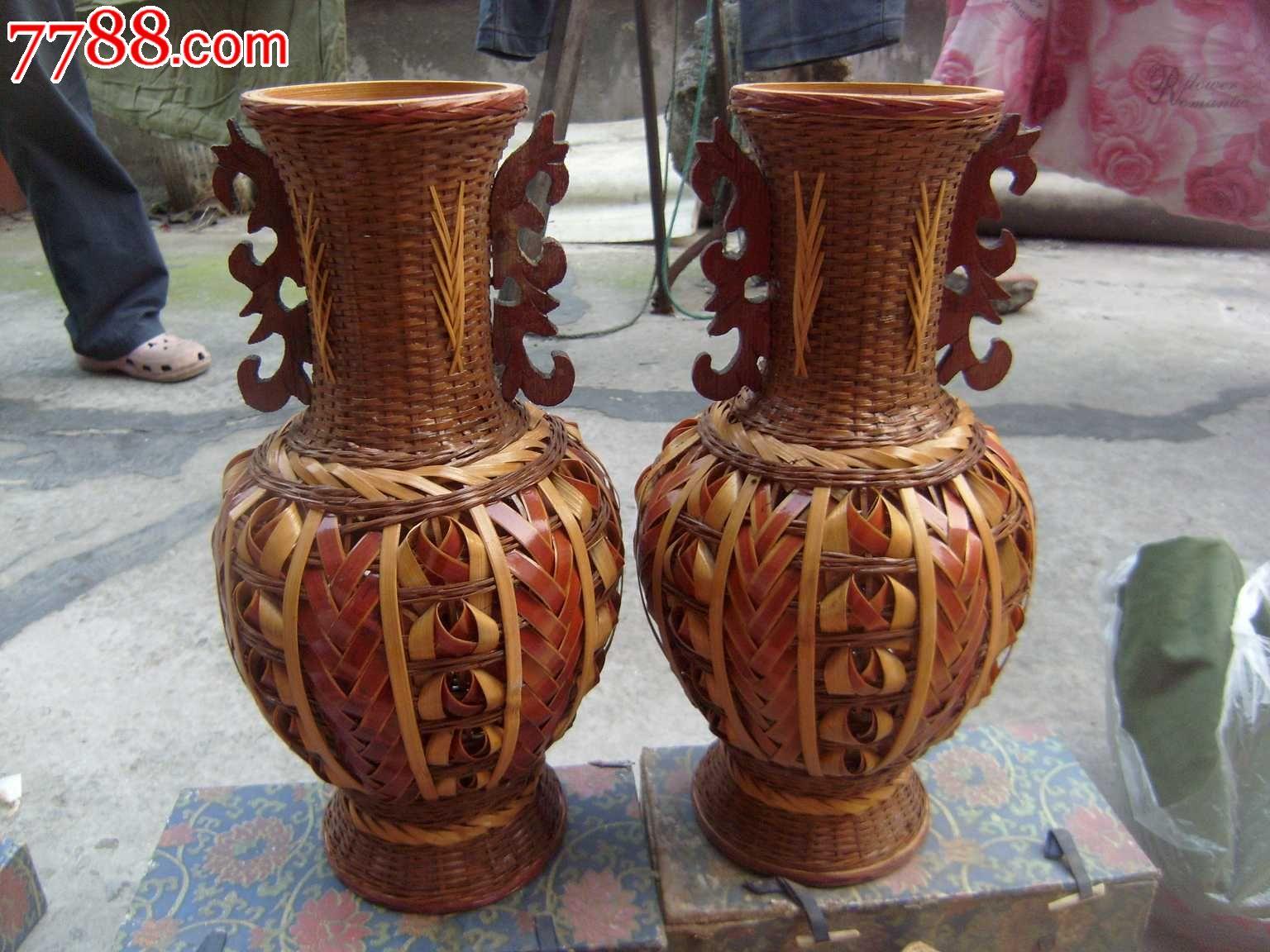 重庆特产瓷胎竹编——大花瓶一对