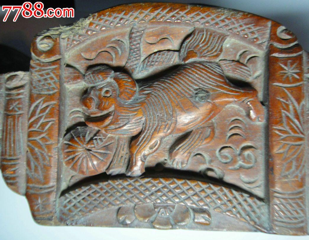 清末民初:浙江东阳木雕木工用-带工墨斗-狮子绣球-内套三枚铜钱看不到