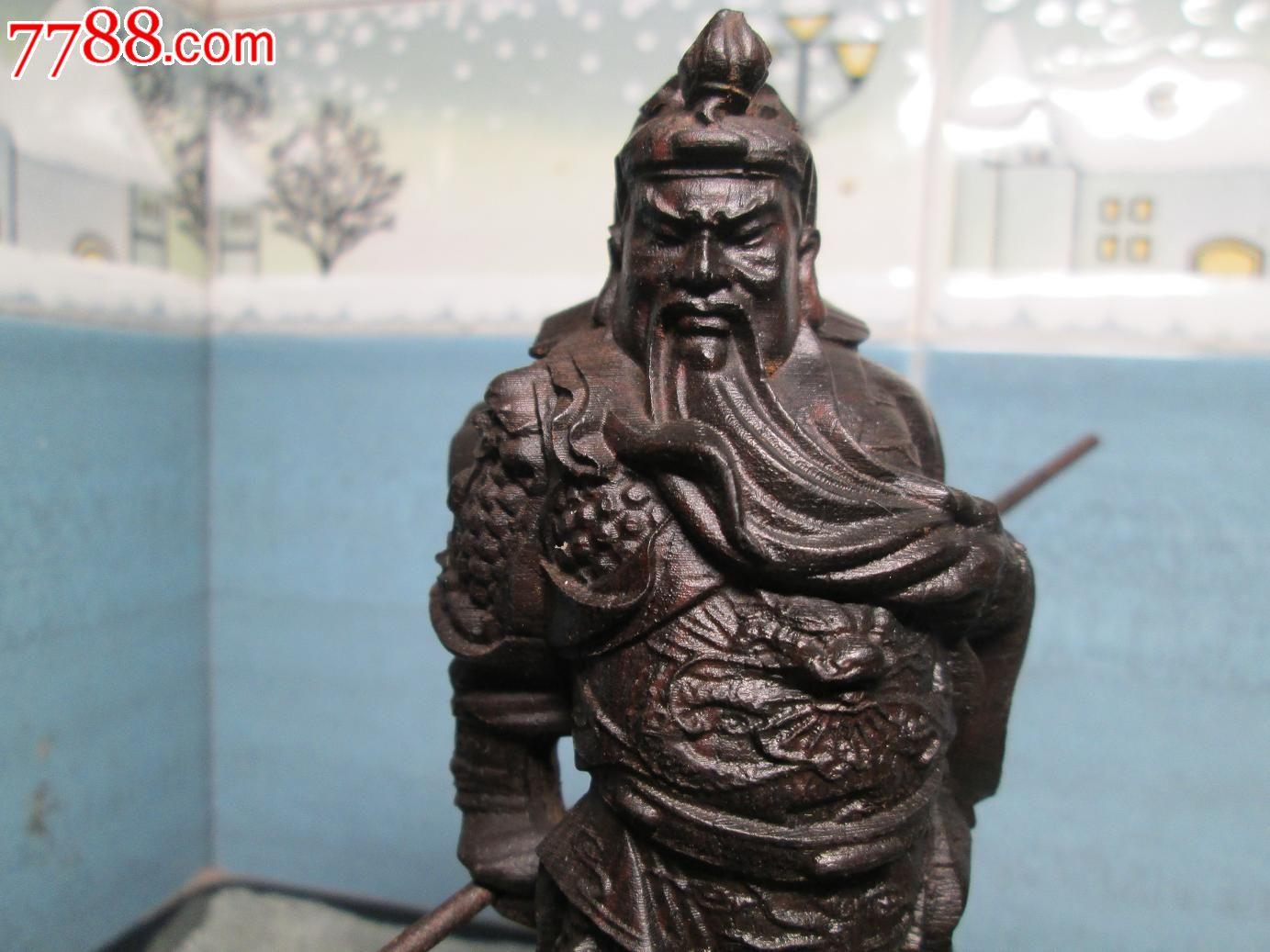 越南沉香木关公雕刻摆件