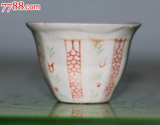 民国时期手绘画纹杯子酒杯陶瓷杯包老包真农村收来古玩收藏