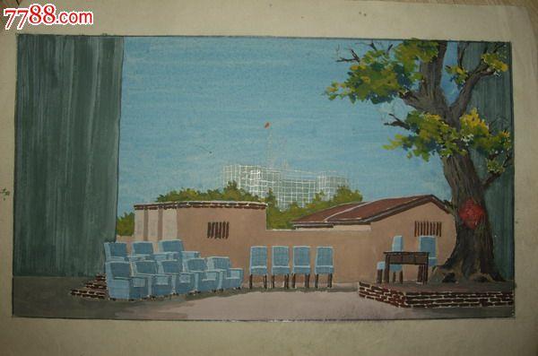 建筑风景,,年代不详,,其他开张,,未装裱,,普通彩纸, 简介: 水粉小画稿