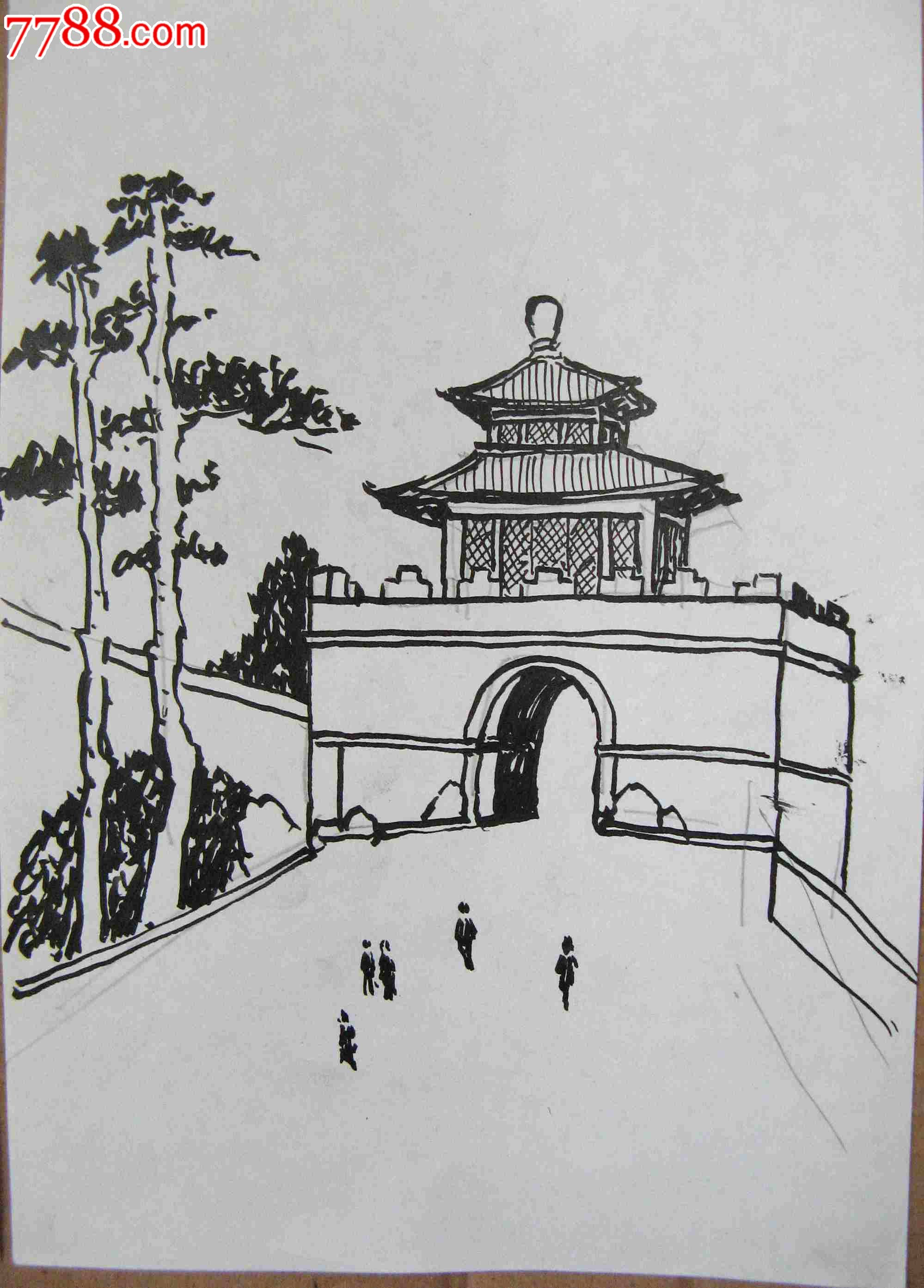 画家素描画稿楼阁建筑画3幅_议价_第3张_7788收藏__中国收藏热线