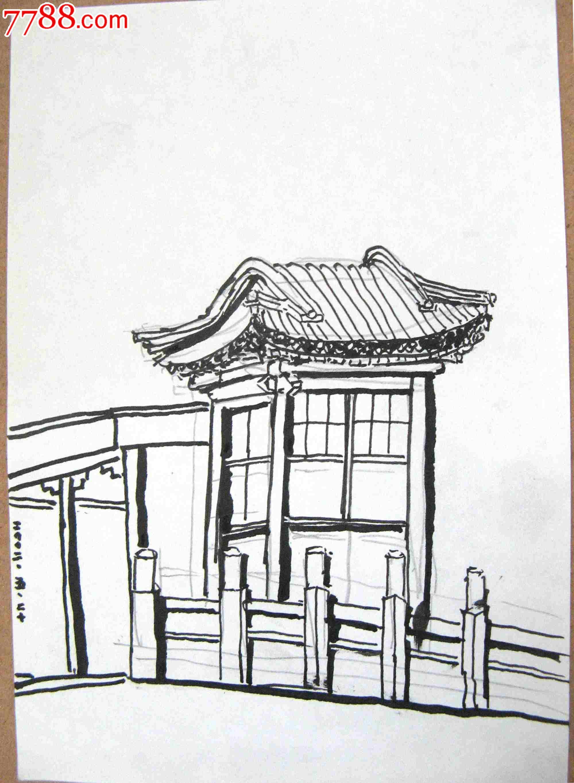 画家素描画稿楼阁建筑画3幅_议价_第4张_7788收藏__中国收藏热线