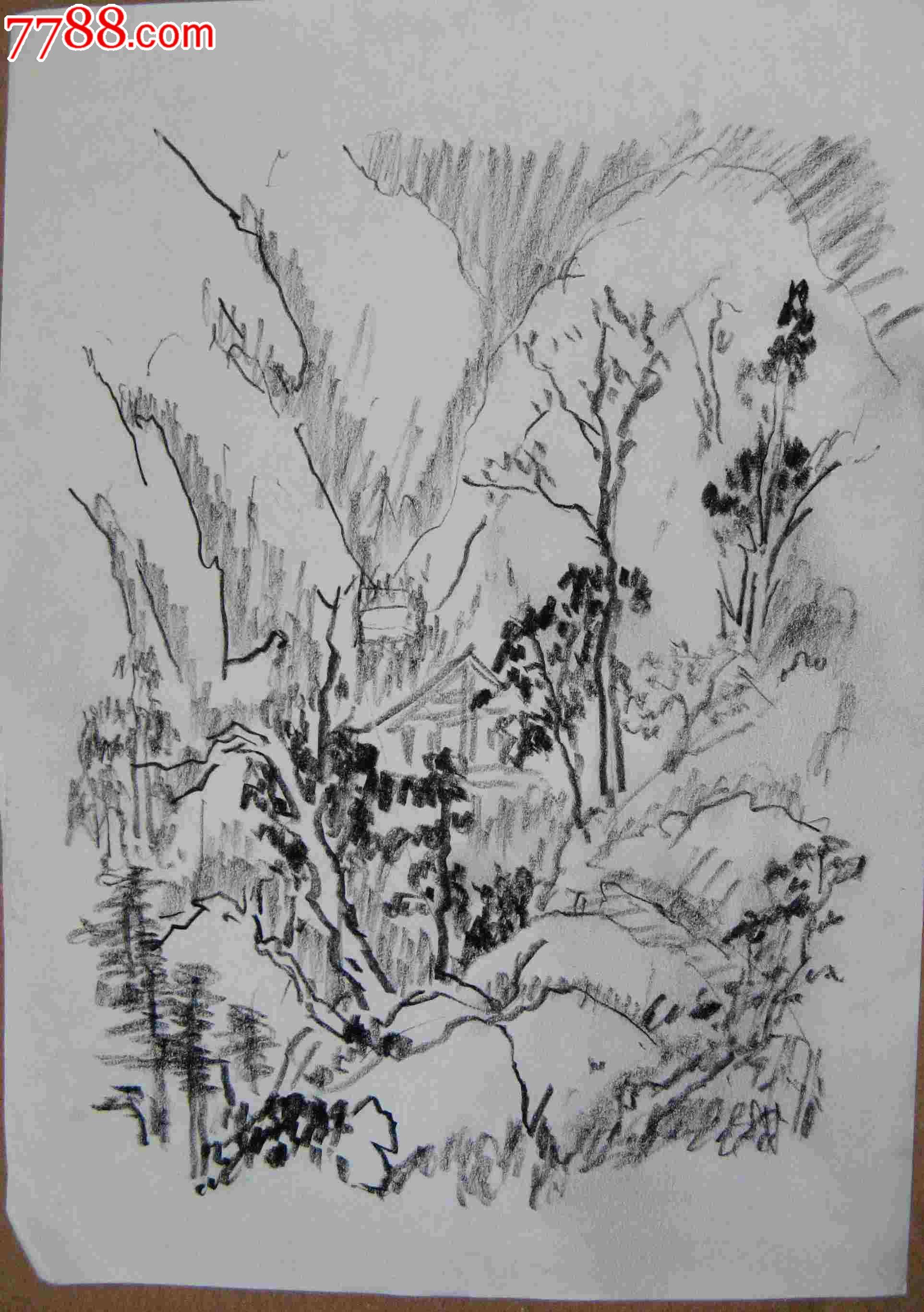 画家素描画稿山水风景画2幅