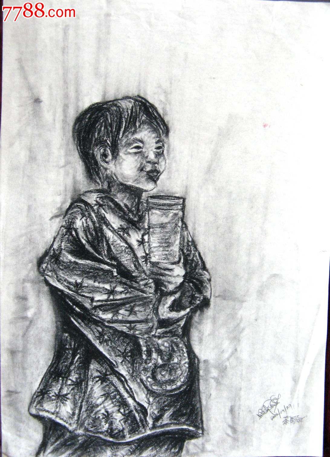 素描人物画:端杯子的女孩