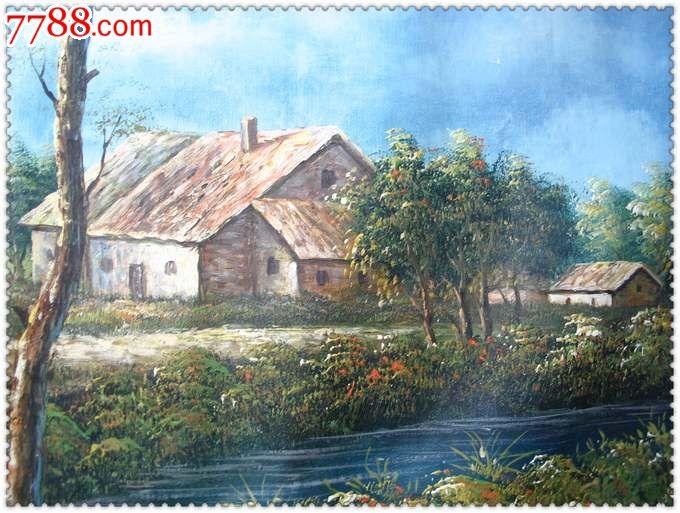 聆静的村庄*精美的手绘大型旧油画_第4张_7788收藏__中国收藏热线