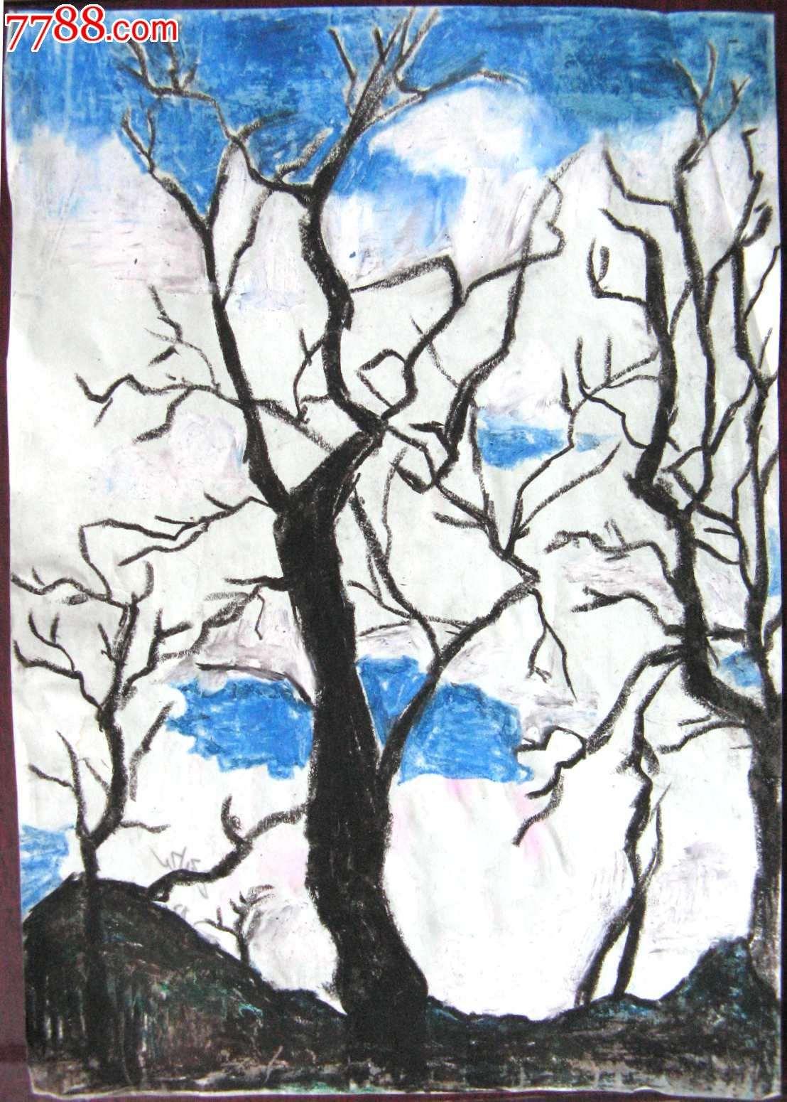 素描风景建筑画:树木