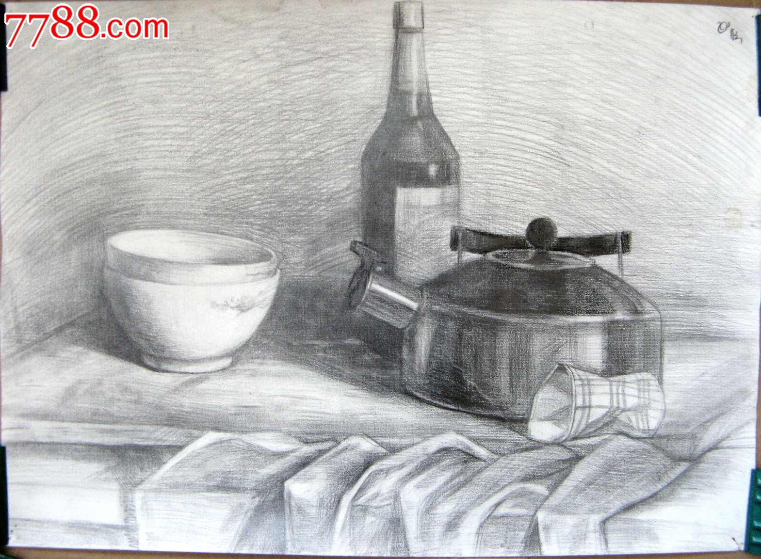 铅笔素描静物图:容器,酒瓶