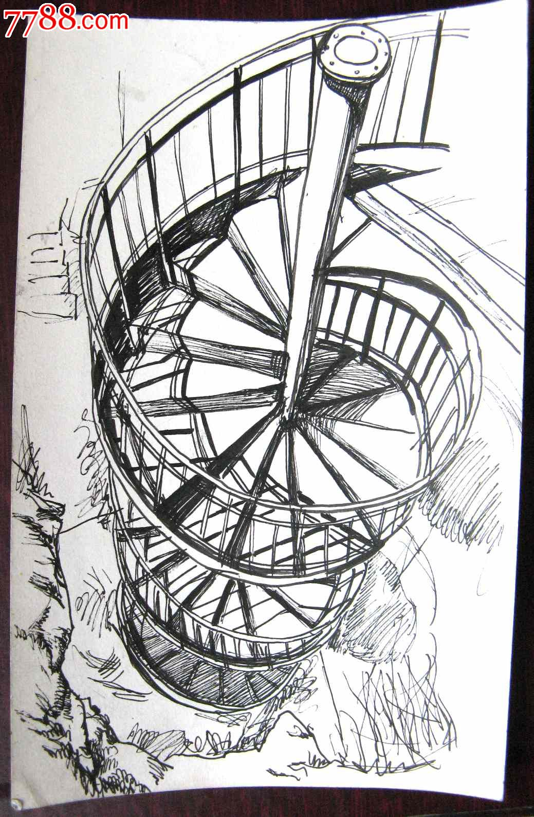 素描风景建筑画:旋转楼梯