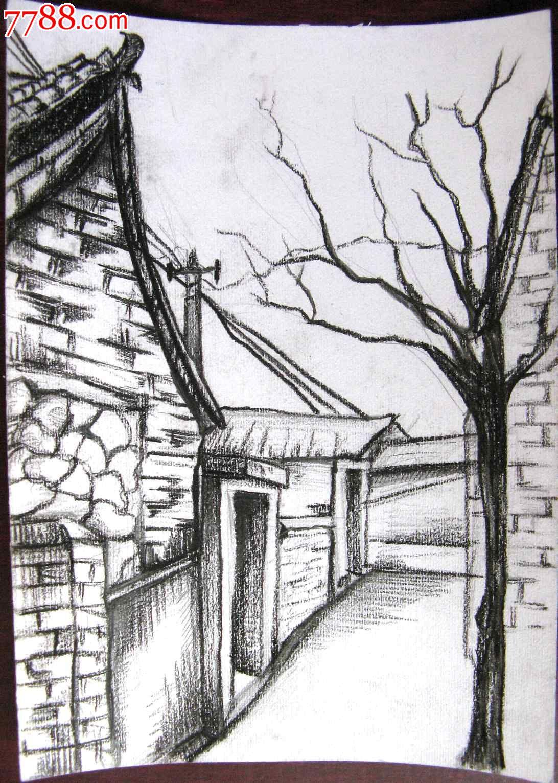 素描风景建筑画:小巷深处