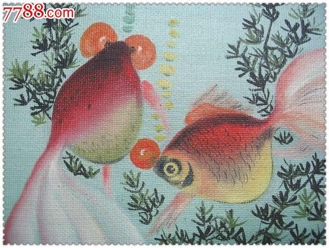 漂亮的手绘双金鱼旧油画