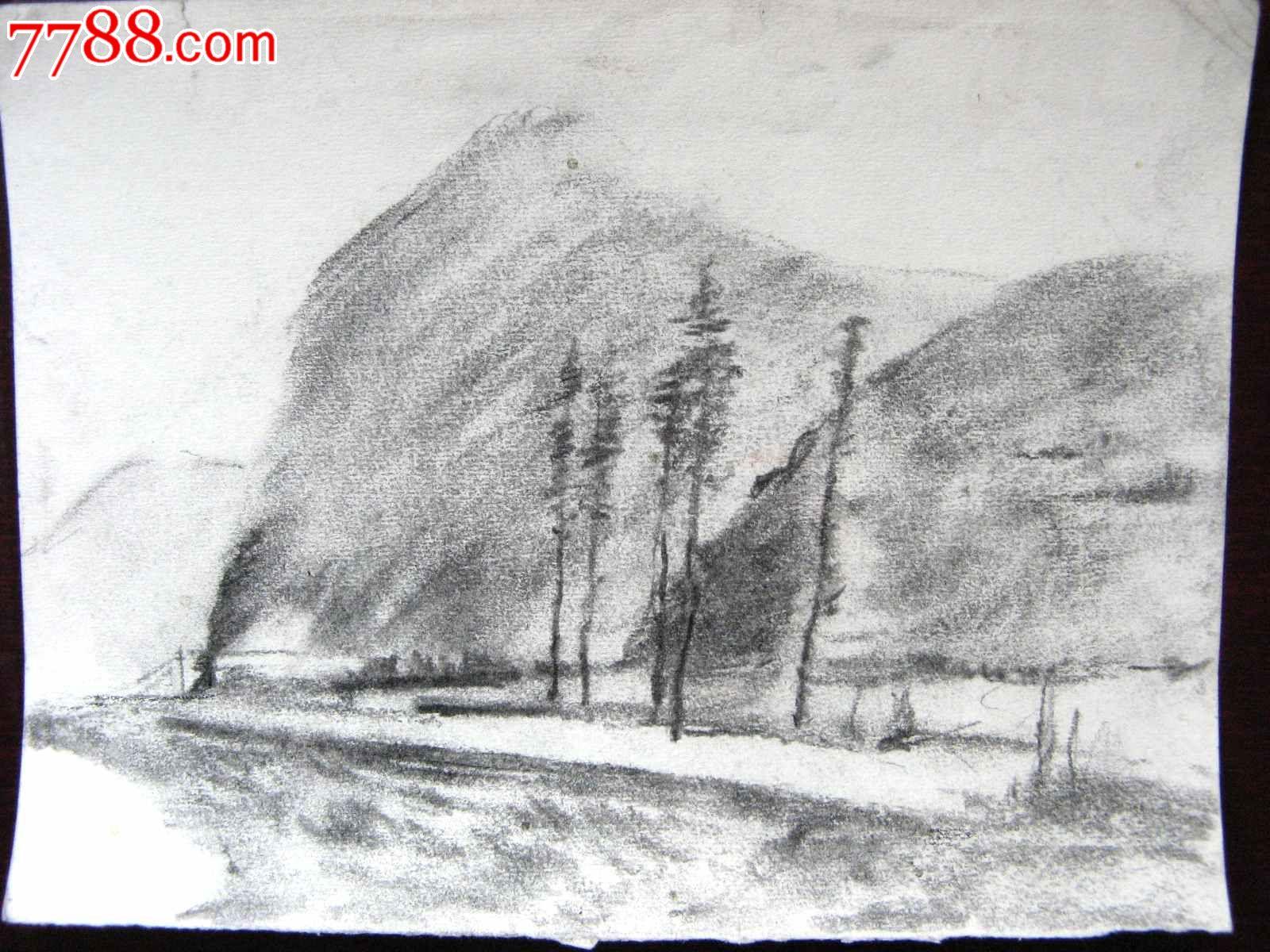 素描风景山水画 山区公路
