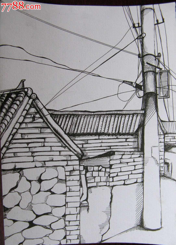 素描风景建筑画:大宅房屋与线杆