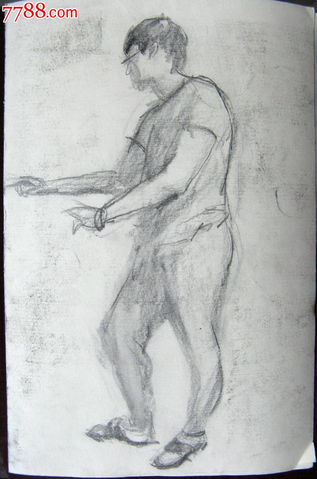素描人物画:戴眼镜的男子