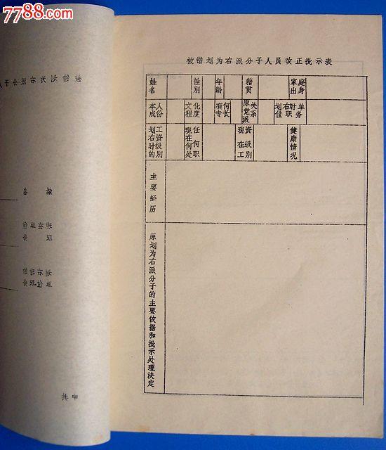 78年(四川省)被错划为右派分子人员改正通知书和批示表