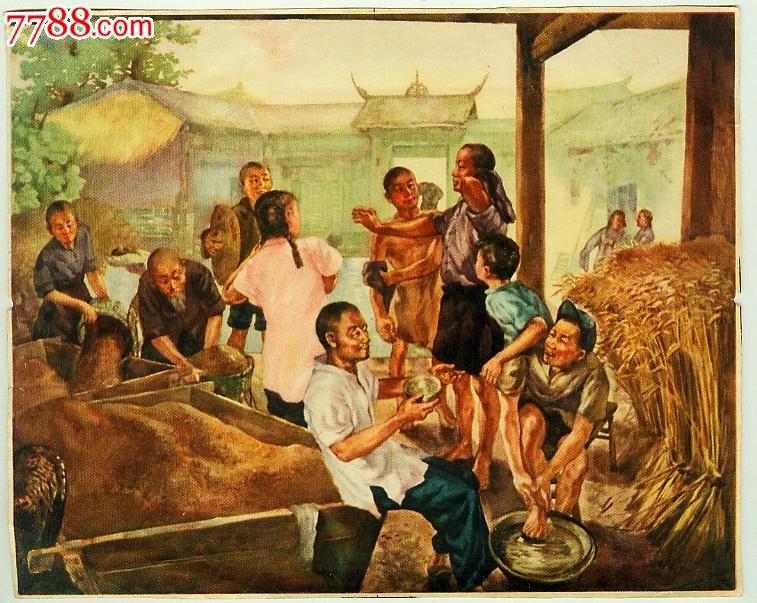 農村老房子人物油畫