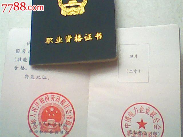 五级(初级技能)职业资格证书,空白带中国电力联合会章