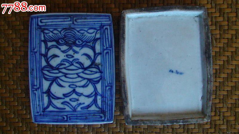 清·青花缠枝纹长方形印泥盒一只.