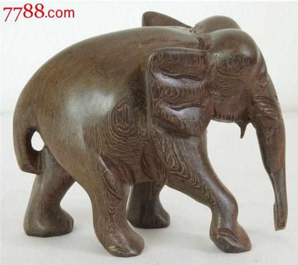 红木缅甸黑檀木大象木雕工艺品摆件15cm