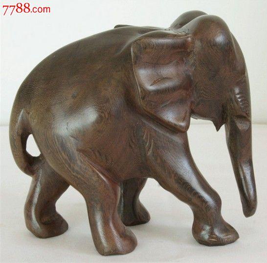 红木缅甸黑檀木大象木雕工艺品摆件18cm