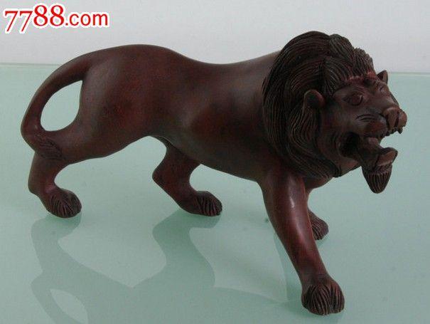 红木缅甸黑檀木狮子木雕工艺品摆件30cm