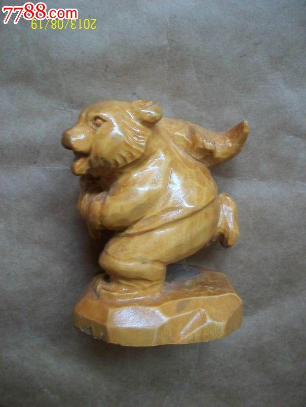 动物木雕摆件(小熊偷鱼)
