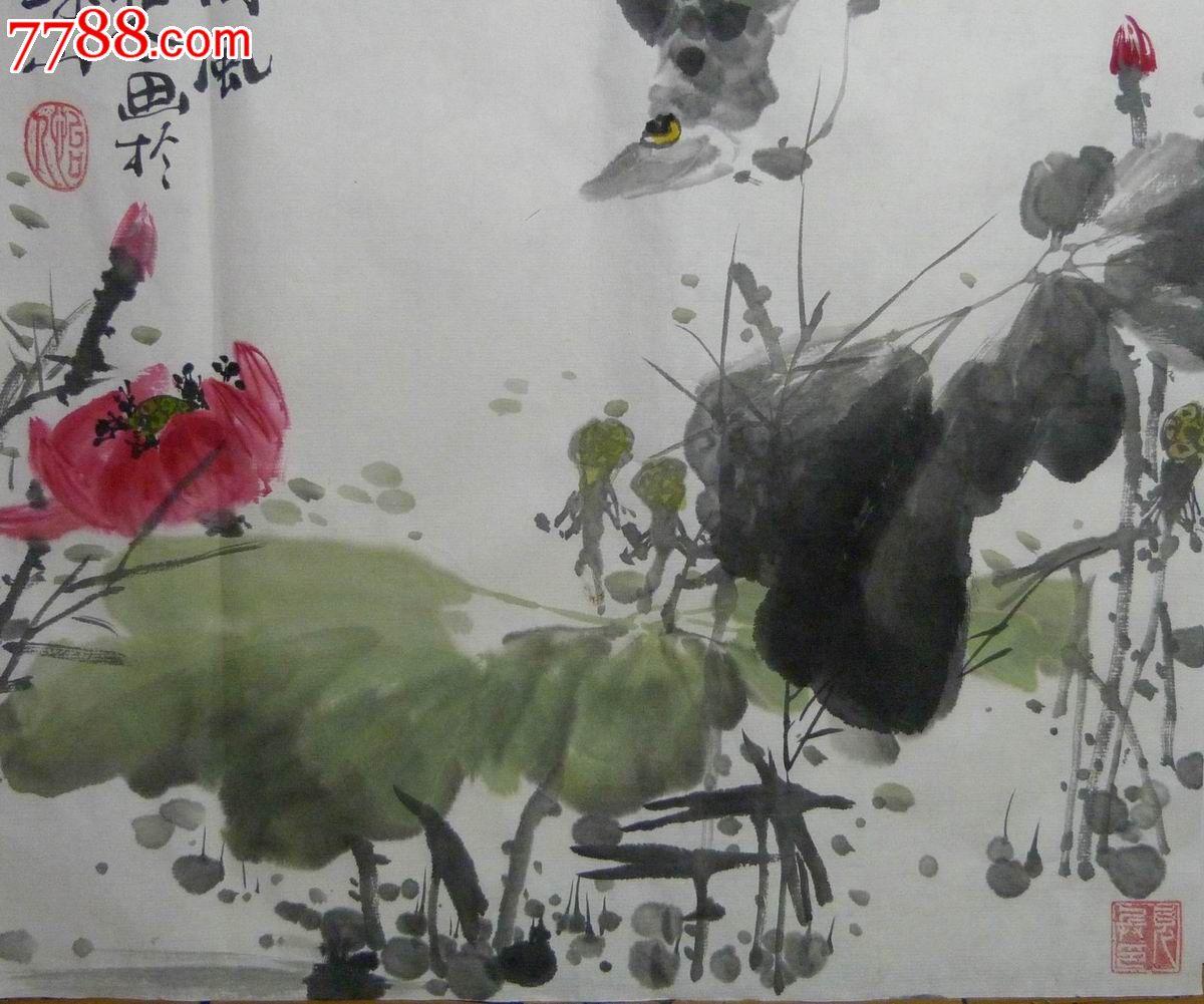 中国画写意花鸟画 荷风
