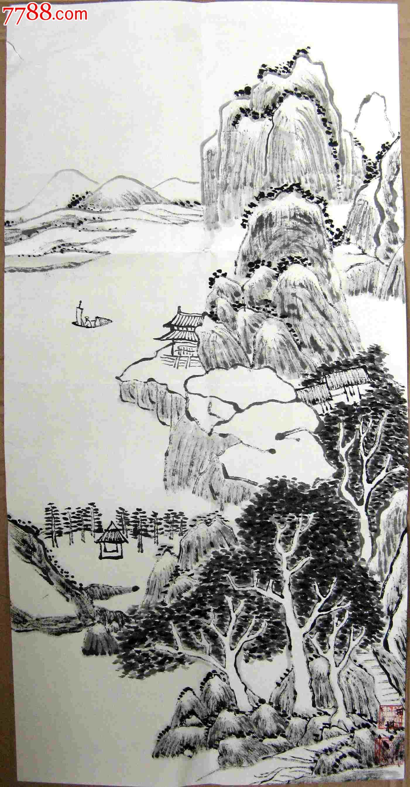 横幅简单的水墨画-仿古风格的二尺条幅水墨山水画 溪山荡舟 已简托裱图片