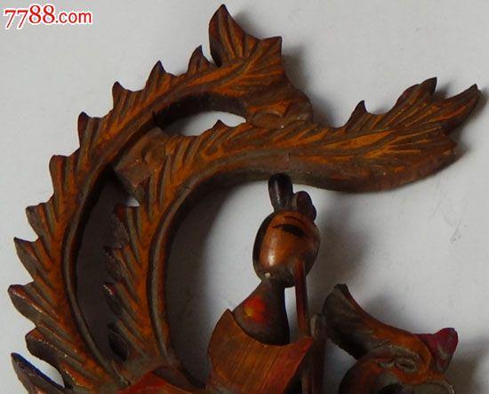 木头雕仙女吹笛骑凤凰小摆件