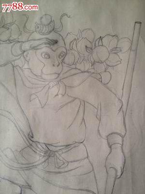 70年代素描【门神】画稿2【孙悟空和二郎神】