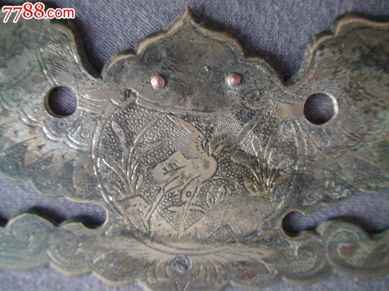 清·老式家具上锤刻精致的蝙蝠拉手一对,老铜器.