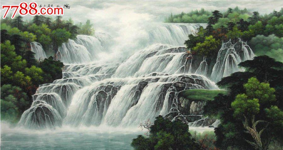 壁纸 风景 国画 旅游 瀑布 山水 桌面 900_478