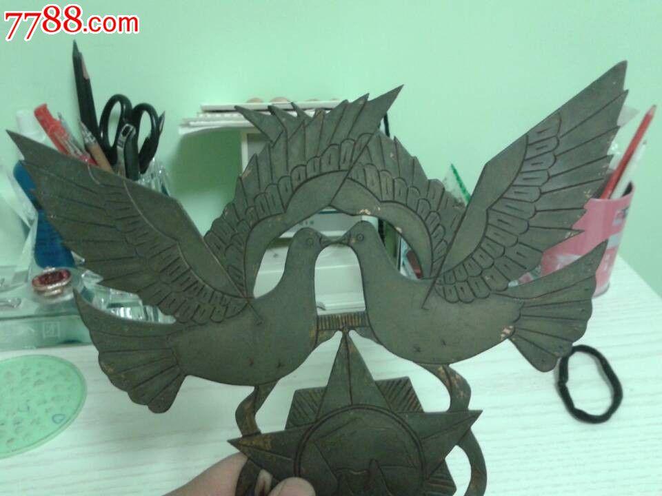 老山作战纪念手工制作的大型和平鸽摆件