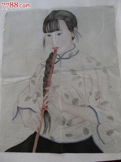 精品名家手绘工笔画人物_价格50.