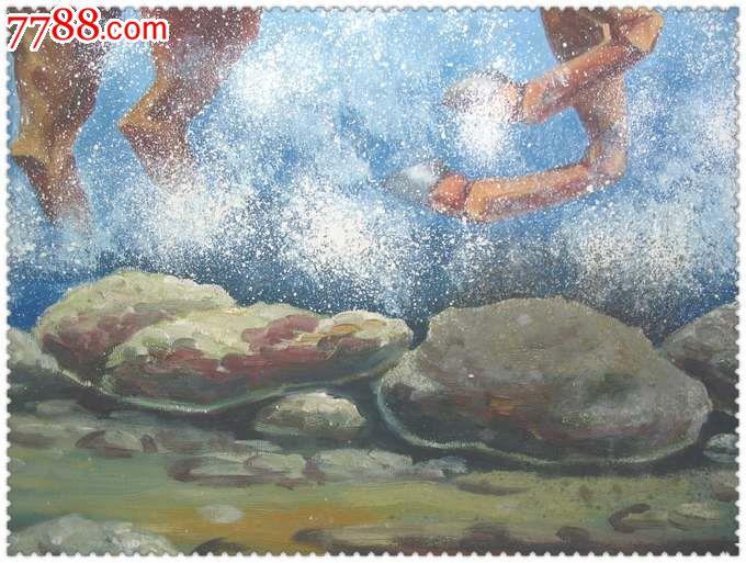 雪山八骏*精美的手绘大幅旧油画