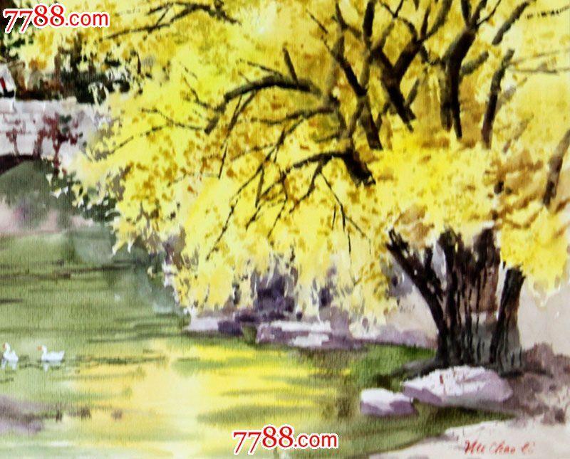 【国画字画】武朝利水彩画家住小河畔55x39cmwzl002