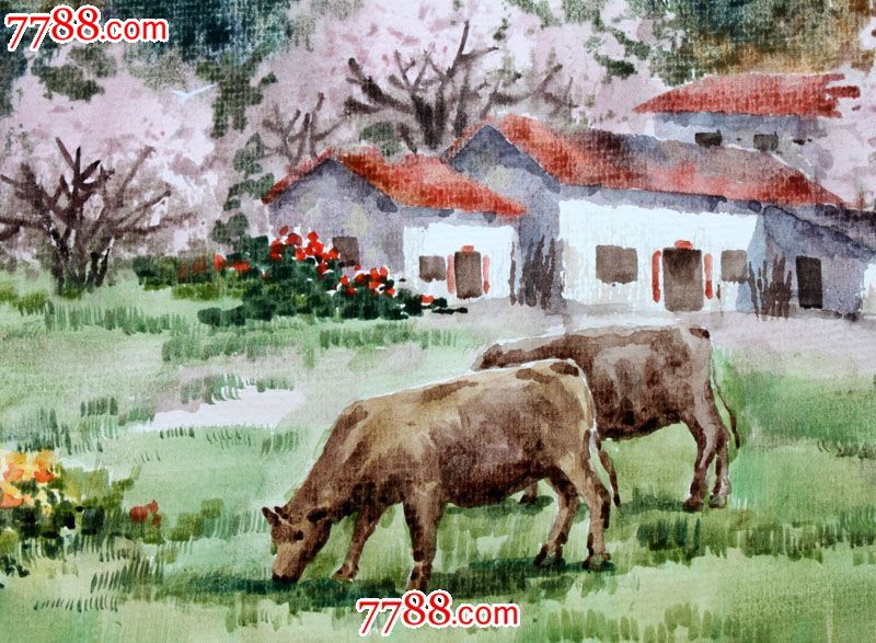 【国画字画】名家作品武朝利水彩画风景画春牧送礼收藏wzl011