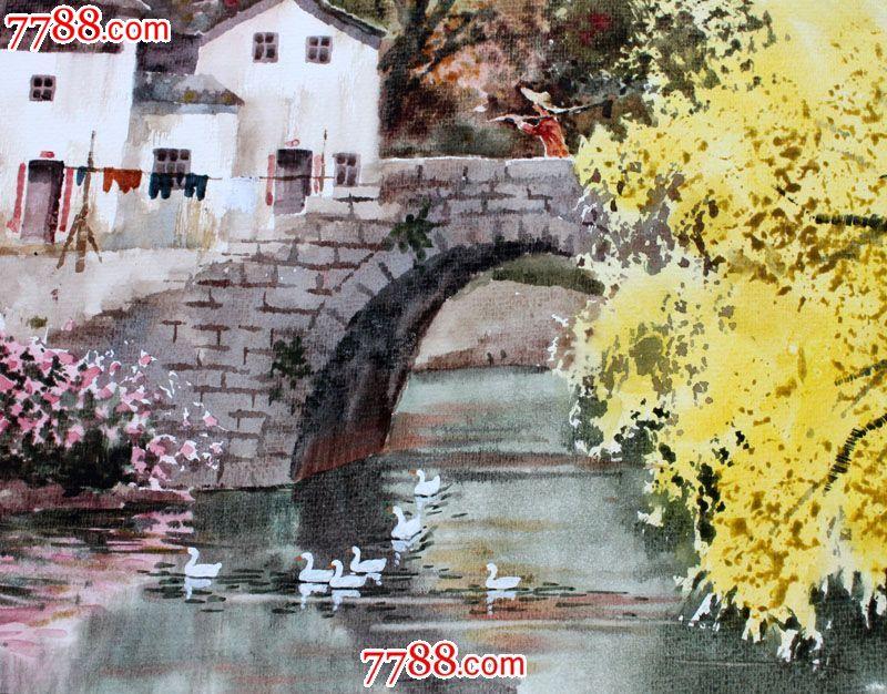 【国画字画】名家武朝利水彩画风景画家乡小河装饰送礼wzl020