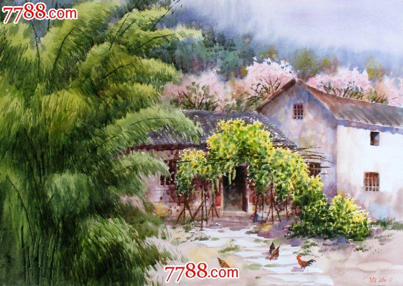 名家作品武朝利水彩画风景画写实农家春色收藏送礼装饰wzl041