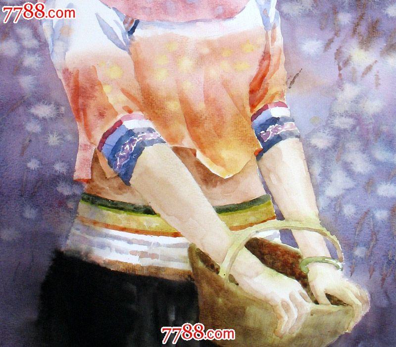 名家作品武朝利水彩画人物画写实惠安女收藏送礼装饰wzl027