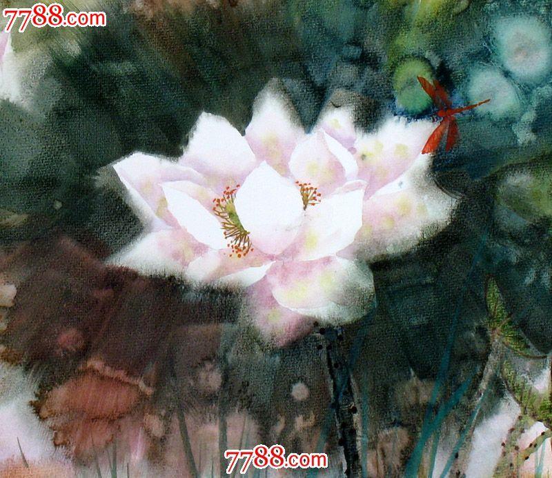 名家作品武朝利水彩画花鸟画写实荷花蜻蜓收藏送礼装饰wzl032