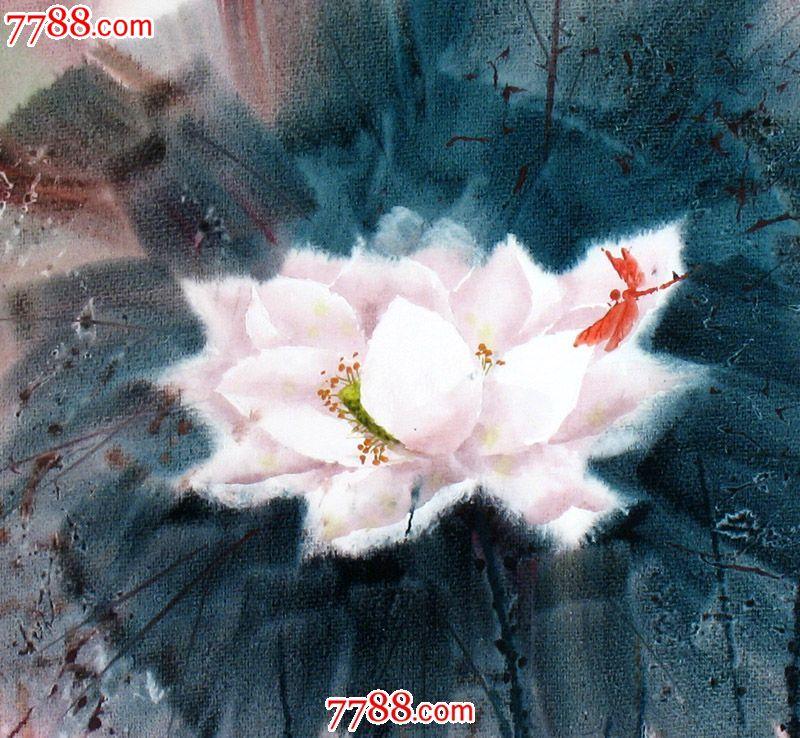 名家作品武朝利水彩画花鸟画写实荷花蜻蜓收藏送礼装饰wzl033