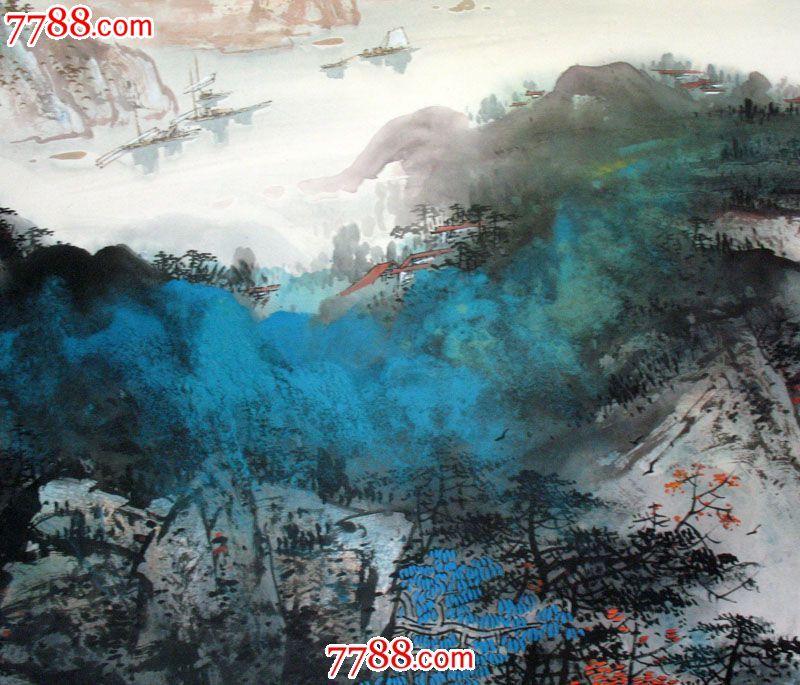 实力派画家张春丽小六尺纯手绘客厅泼彩山水画名人字画国画