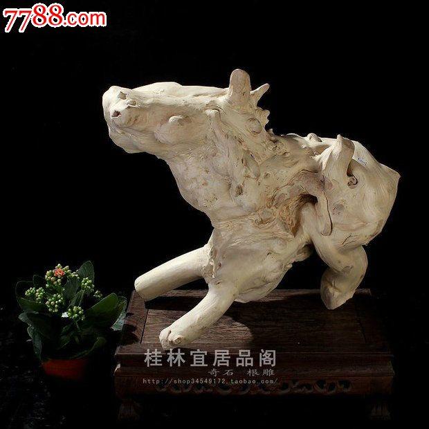 宜居品阁/天然根雕奇石/紫薇木根艺摆件自然件动物