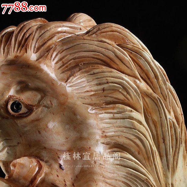 宜居品阁实木根雕木雕动物吉祥摆件桂皮木狮子王ywd663
