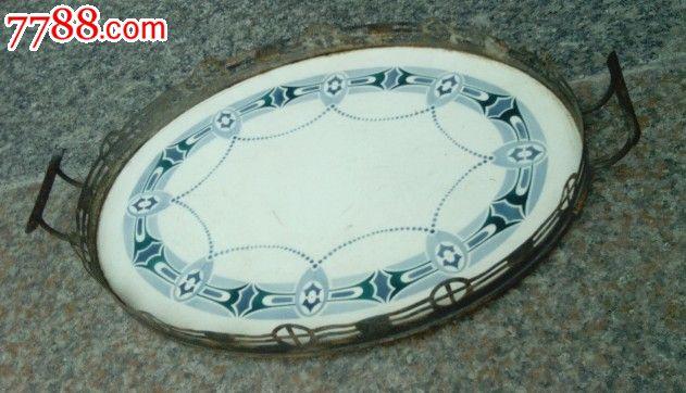 瓷底铜边的德国产椭圆盘子